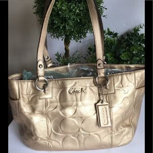Coach Embossed Metallic Zip Gold Leather